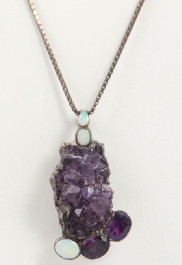 Vintage Sterling Silver Amethyst & Opal Necklace