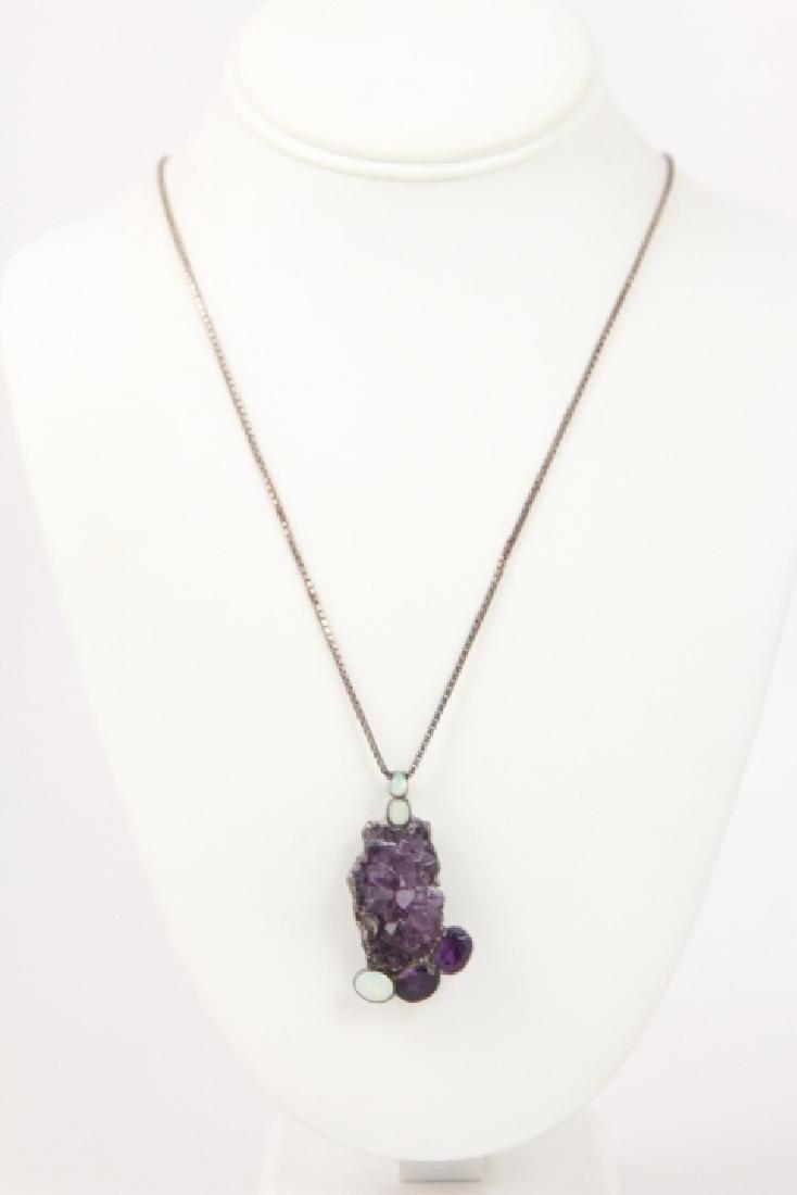 Vintage Sterling Silver Amethyst & Opal Necklace - 2