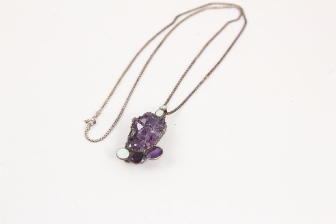 Vintage Sterling Silver Amethyst & Opal Necklace - 4