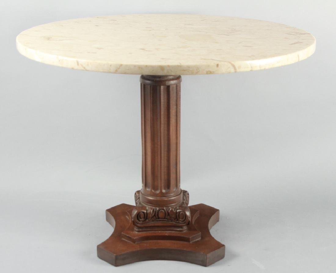 Mid Century Round End Table w Marble Top