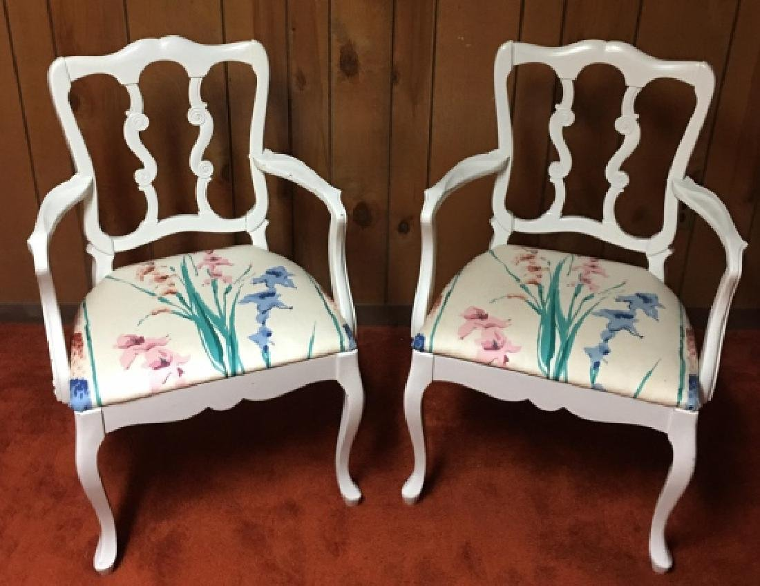 Pair French Provincial Style Arm Chairs