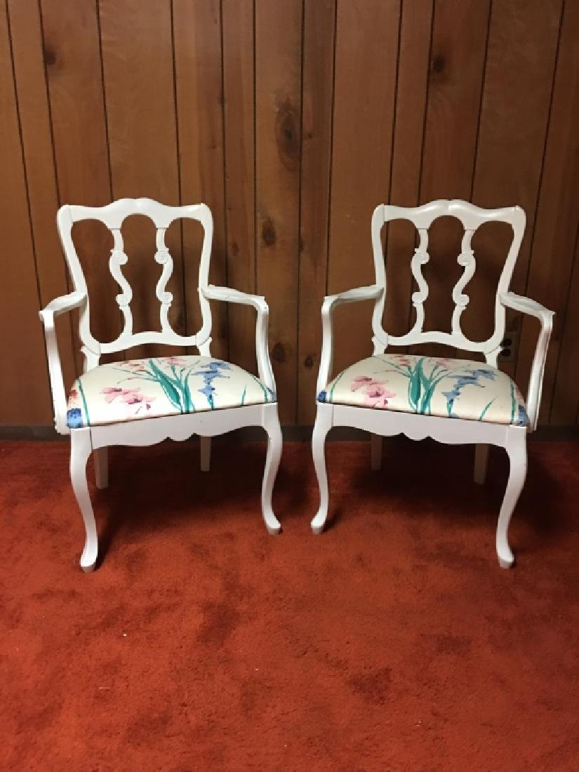 Pair French Provincial Style Arm Chairs - 2