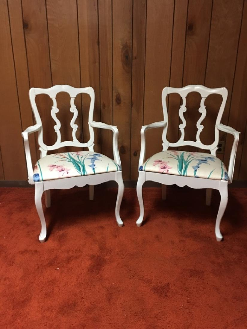 Pair French Provincial Style Arm Chairs - 3