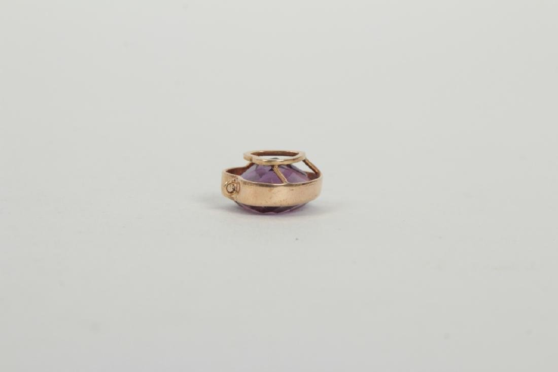 Estate 14k Yellow Gold & 8 Carat Amethyst Pendant - 3