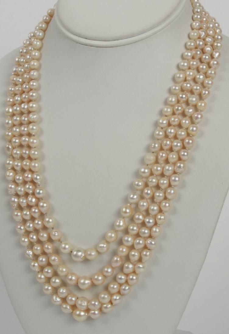 34f430070b130 Estate 14k Yellow Gold Multi Strand Pearl Necklace