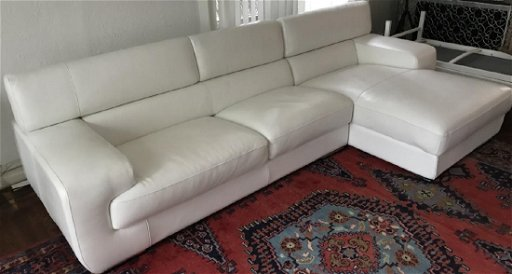 Contemporary Modern White Leather Sectional Sofa