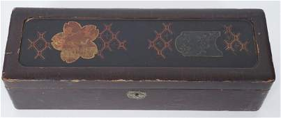 Antique 19th C Japanese Lacquer Box w Bronze Inlay