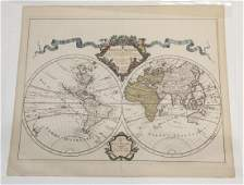 Antique Mappe Monde Hand Colored Engraving