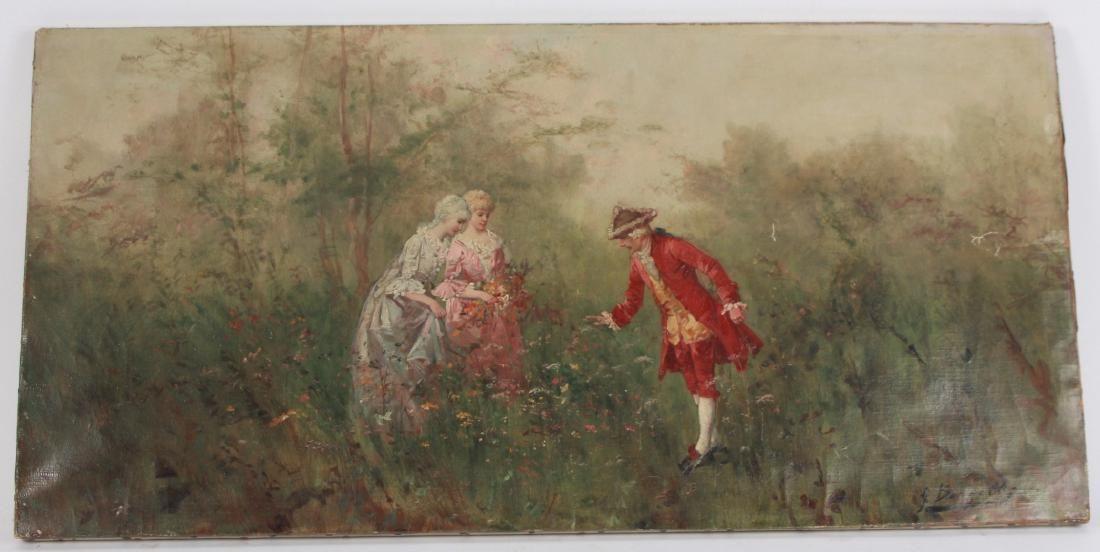 G Borgelli 19th C Oil Painting of Court Figures