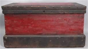 Antique 19th C American Handmade Wooden Trunk