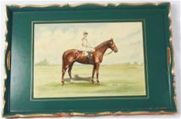 Vintage Decoupage Tray Featuring Horse High Perch