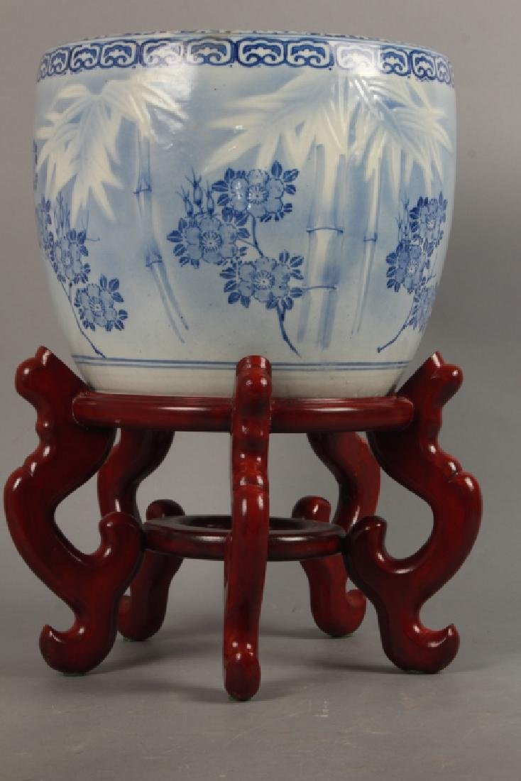 2 Asian Blue & White Porcelain Fish Bowl Planter - 3