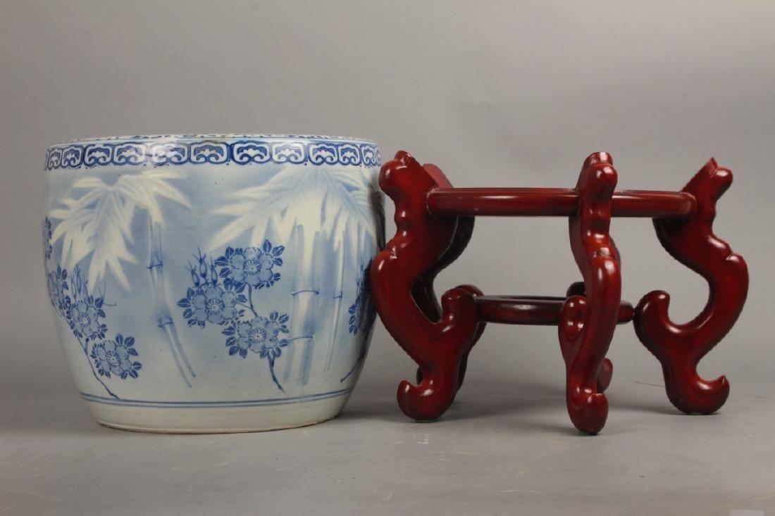 2 Asian Blue & White Porcelain Fish Bowl Planter - 6