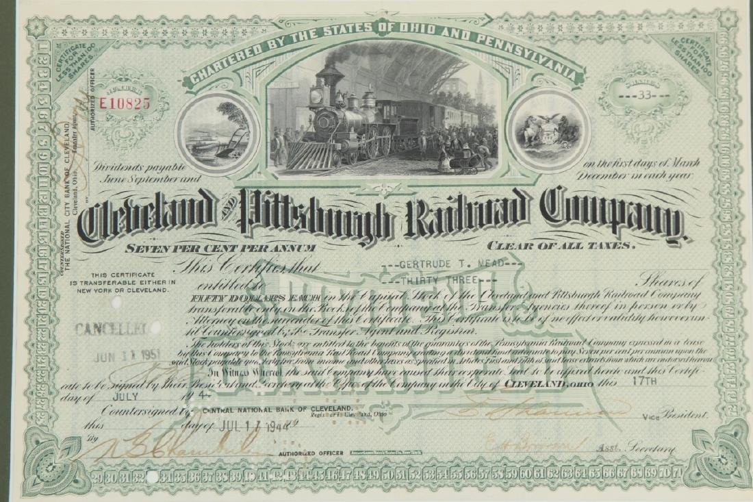 1944Cleveland Pittsburg Railroad Stock Certificate - 3