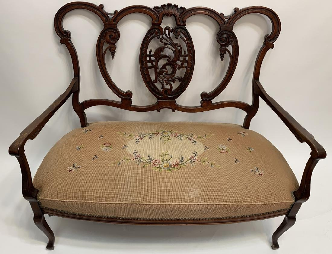 French Rococo Revival Carved Needlepoint Settee