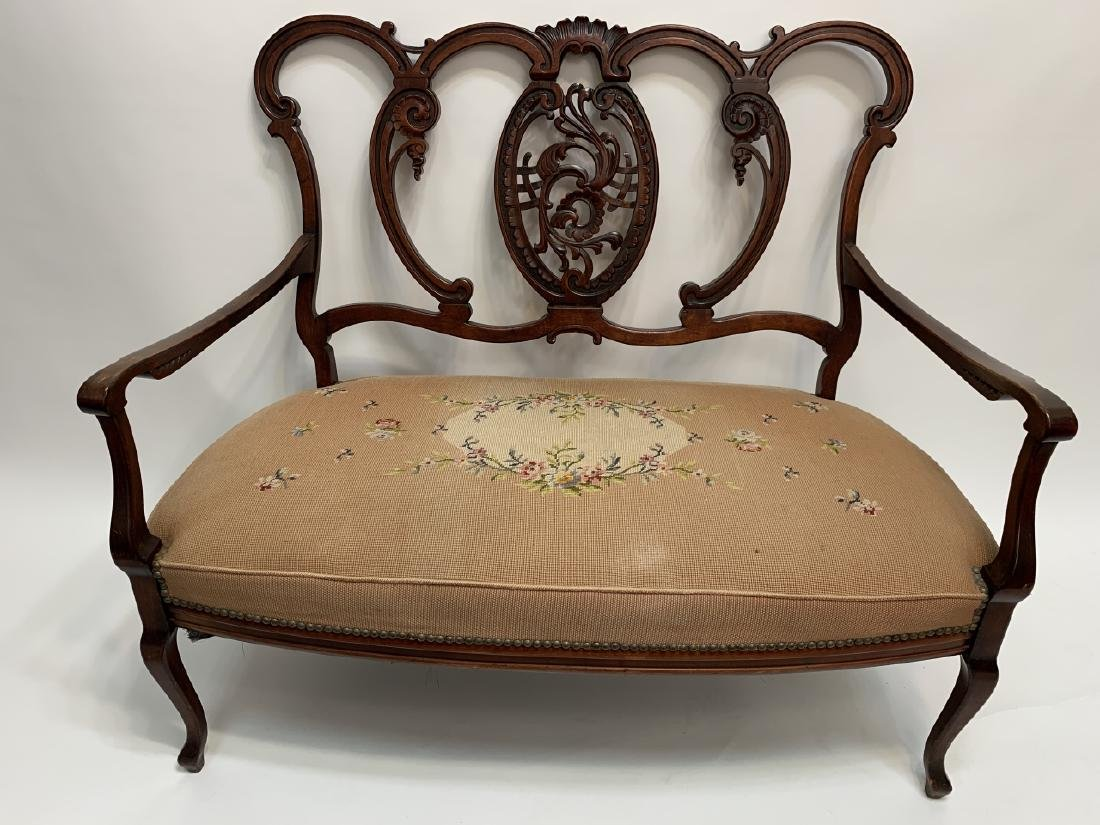 French Rococo Revival Carved Needlepoint Settee - 2