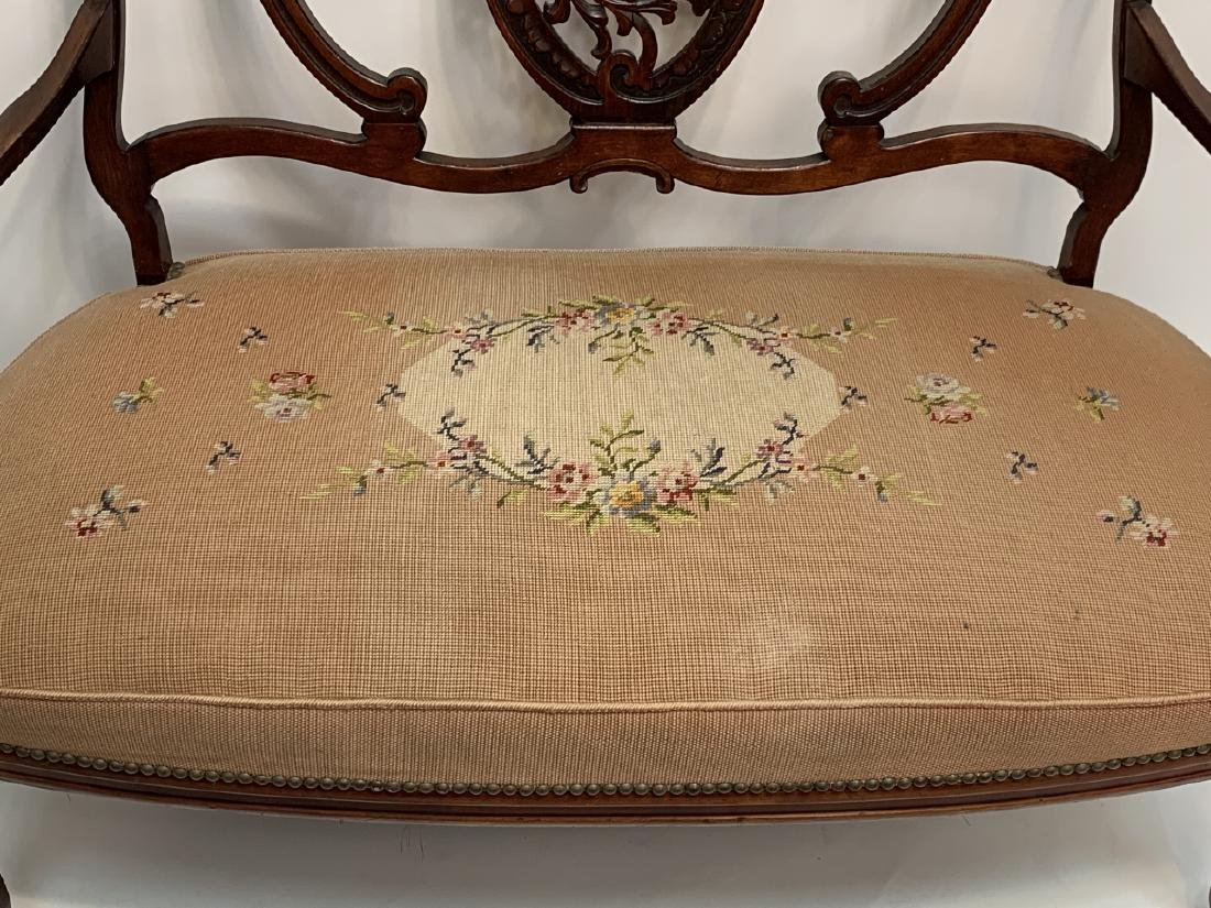 French Rococo Revival Carved Needlepoint Settee - 3