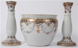 3 Nippon Porcelain Hand Painted Gilt Table Objects