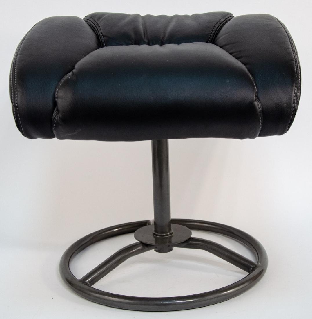 Modern Black Faux Leather Ottoman / Stool