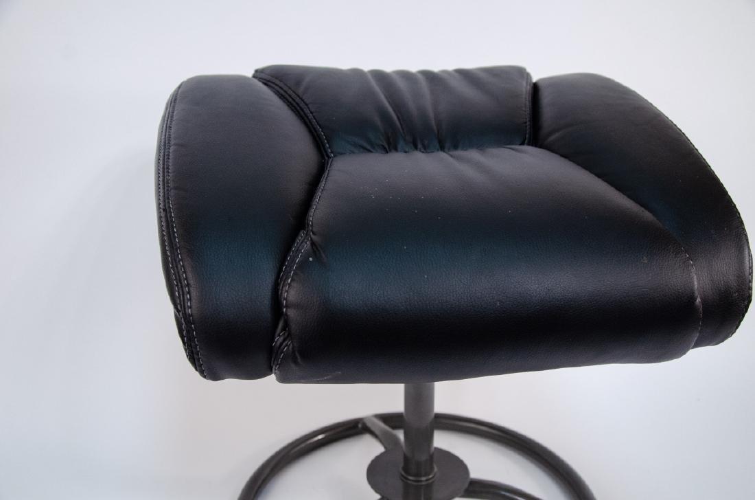 Modern Black Faux Leather Ottoman / Stool - 2