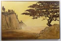 T. Roberts Signed Oil Painting Coastal Landscape