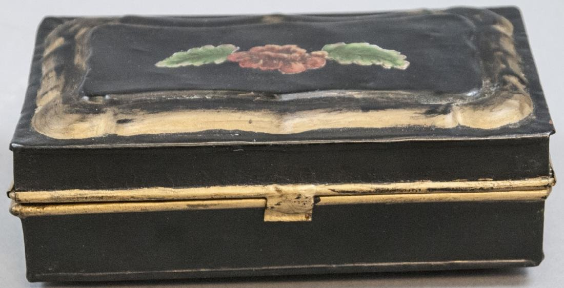 Antique 19th C Hand Painted Tole Metal Jewelry Box