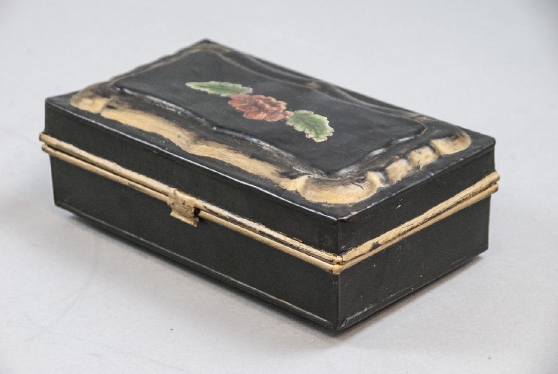 Antique 19th C Hand Painted Tole Metal Jewelry Box - 2