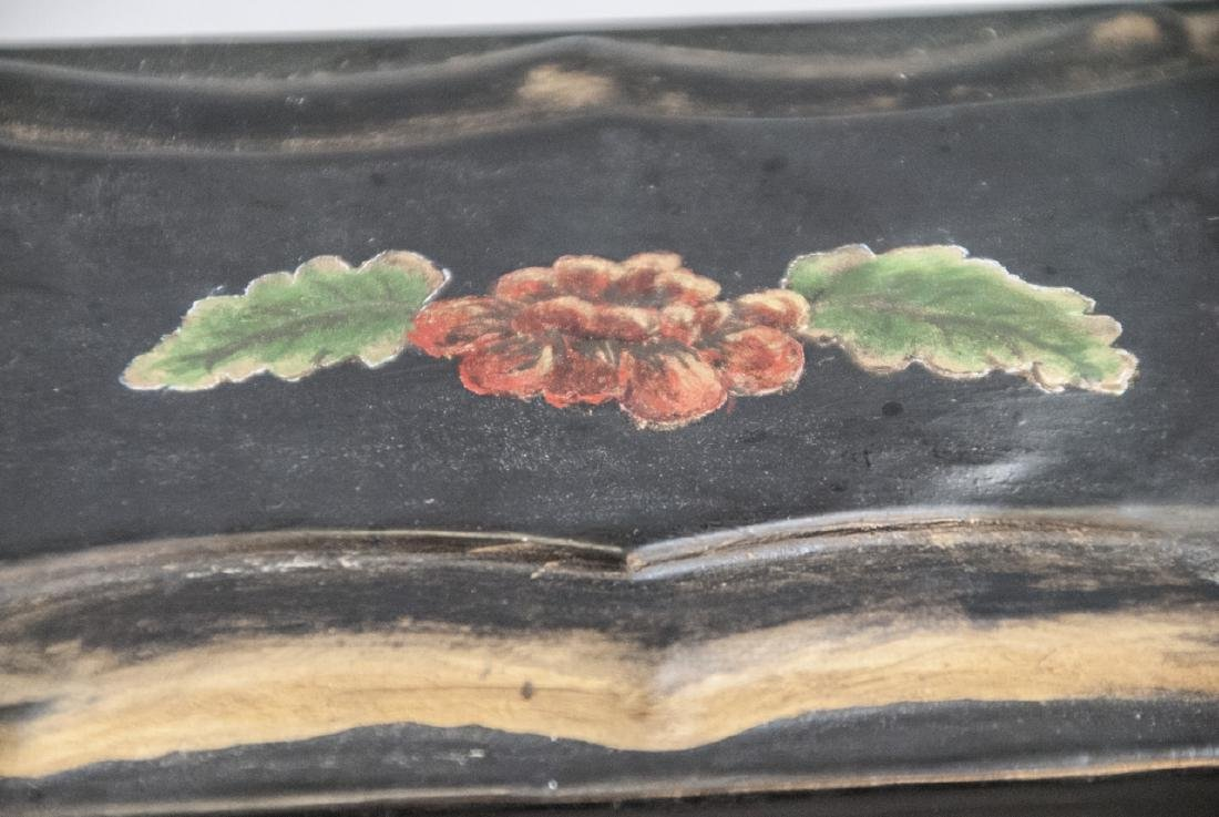 Antique 19th C Hand Painted Tole Metal Jewelry Box - 3