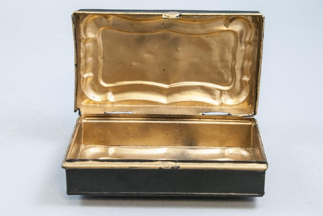 Antique 19th C Hand Painted Tole Metal Jewelry Box - 4
