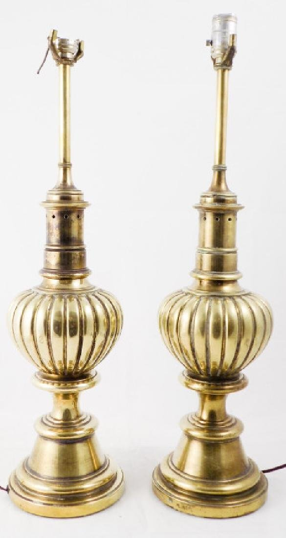 Pair of Traditional Style Heavy Brass Table Lamps