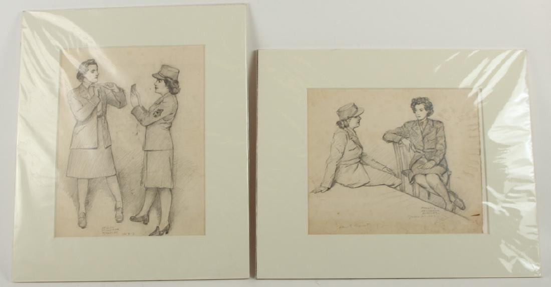 2 Signed William Kughler Pencil Drawings