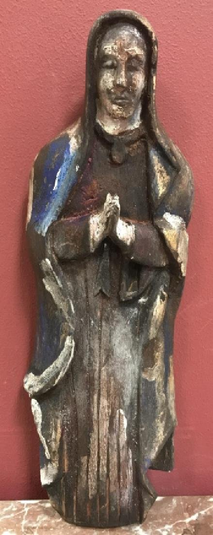 Hand Carved & Painted Santos Statue Virgin Mary