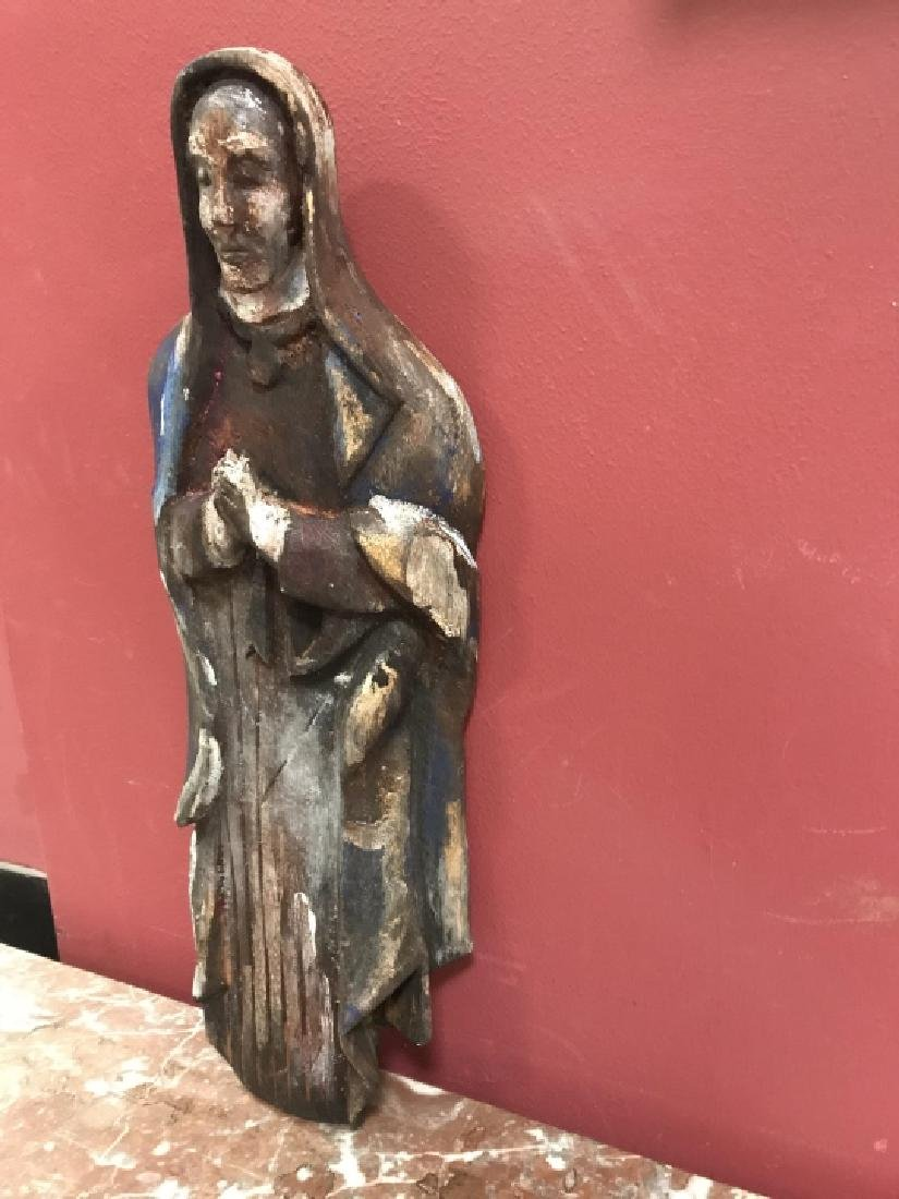 Hand Carved & Painted Santos Statue Virgin Mary - 2