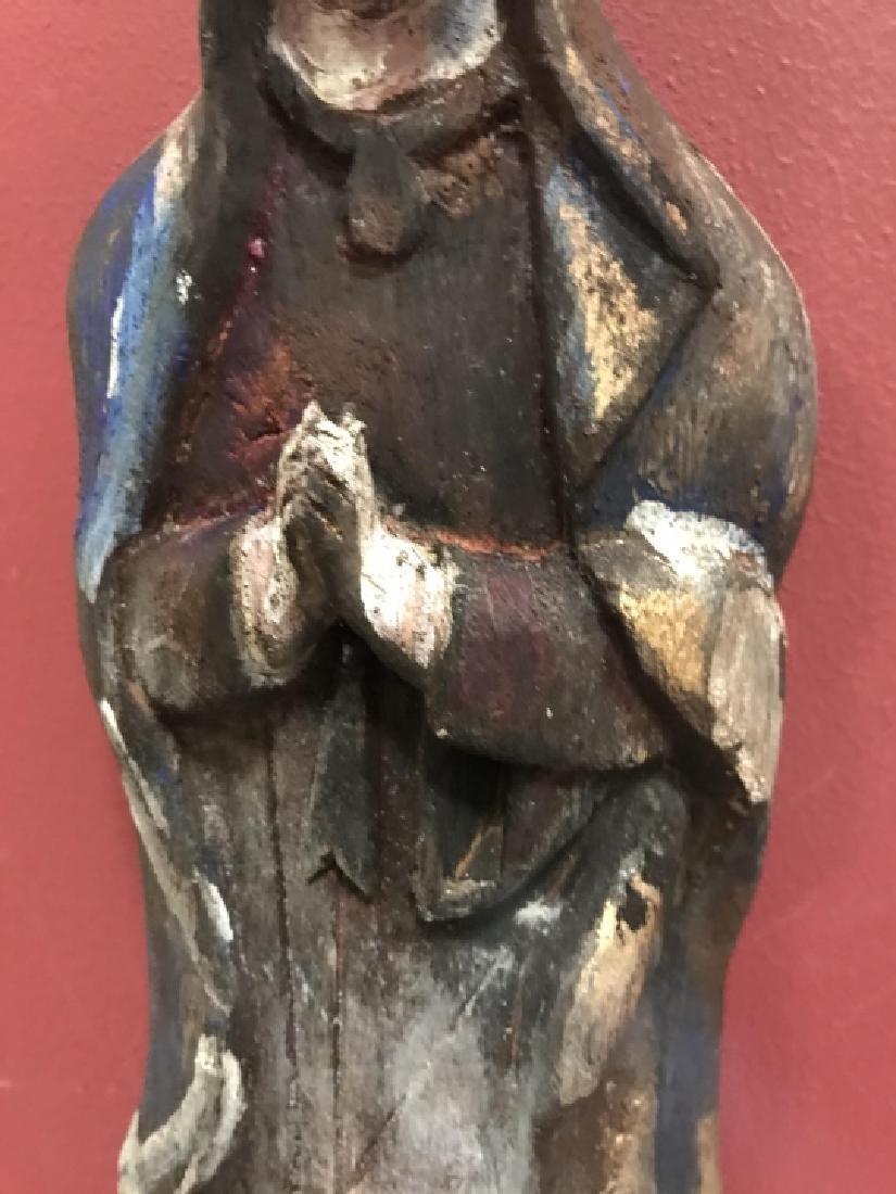 Hand Carved & Painted Santos Statue Virgin Mary - 3