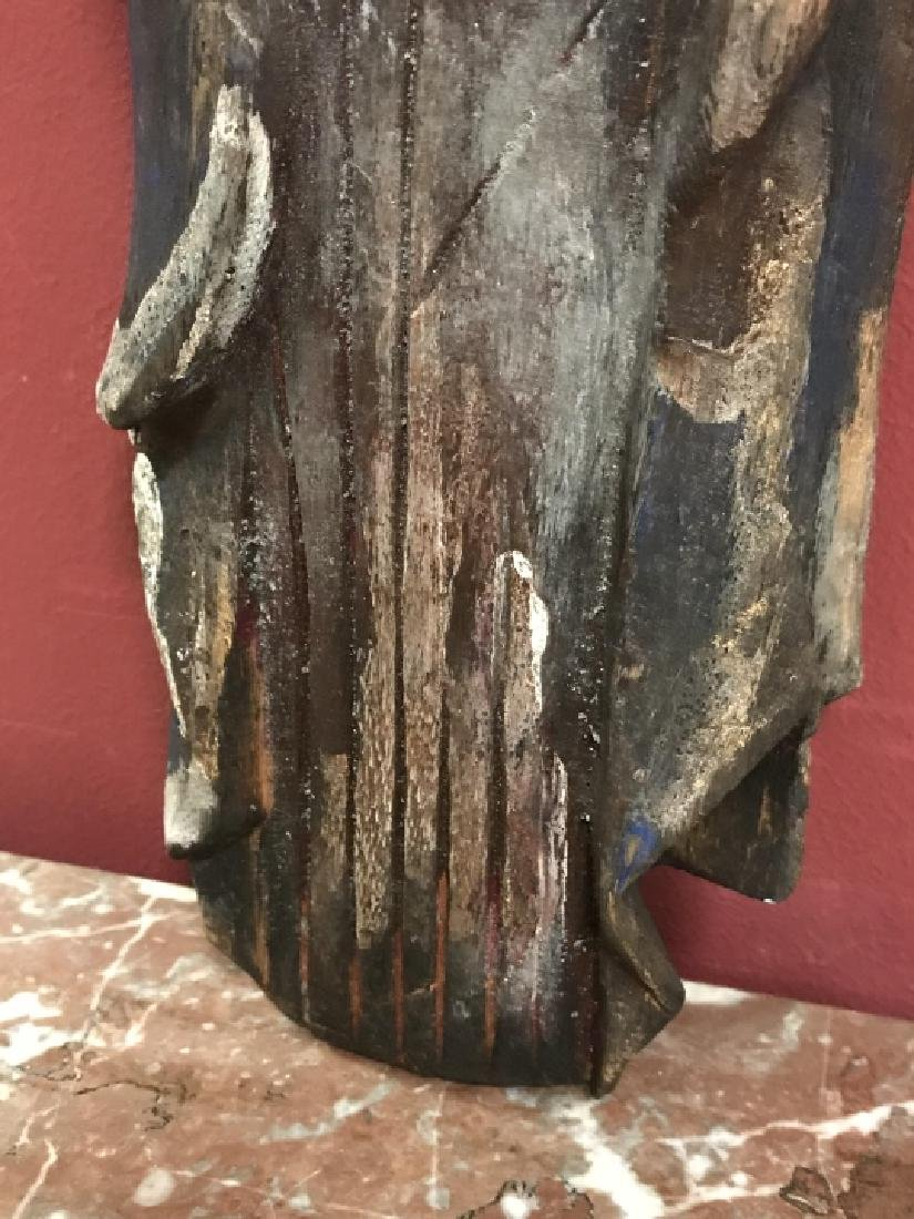 Hand Carved & Painted Santos Statue Virgin Mary - 4