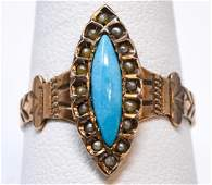 Antique 19th C 14kt Rose Gold & Turquoise Ring