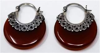 Pair Vintage Sterling & Carnelian Hoop Earrings