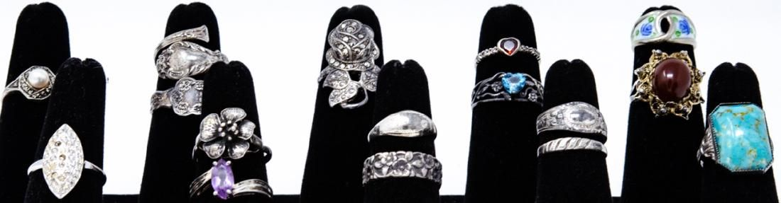 Collection of Vintage Sterling Silver Ladies Rings