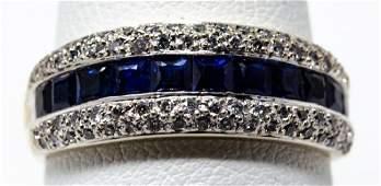 Estate 18kt White Gold Diamonds & Sapphire Ring