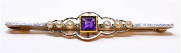 Antique 15kt Yellow Gold Amethyst Bar Brooch