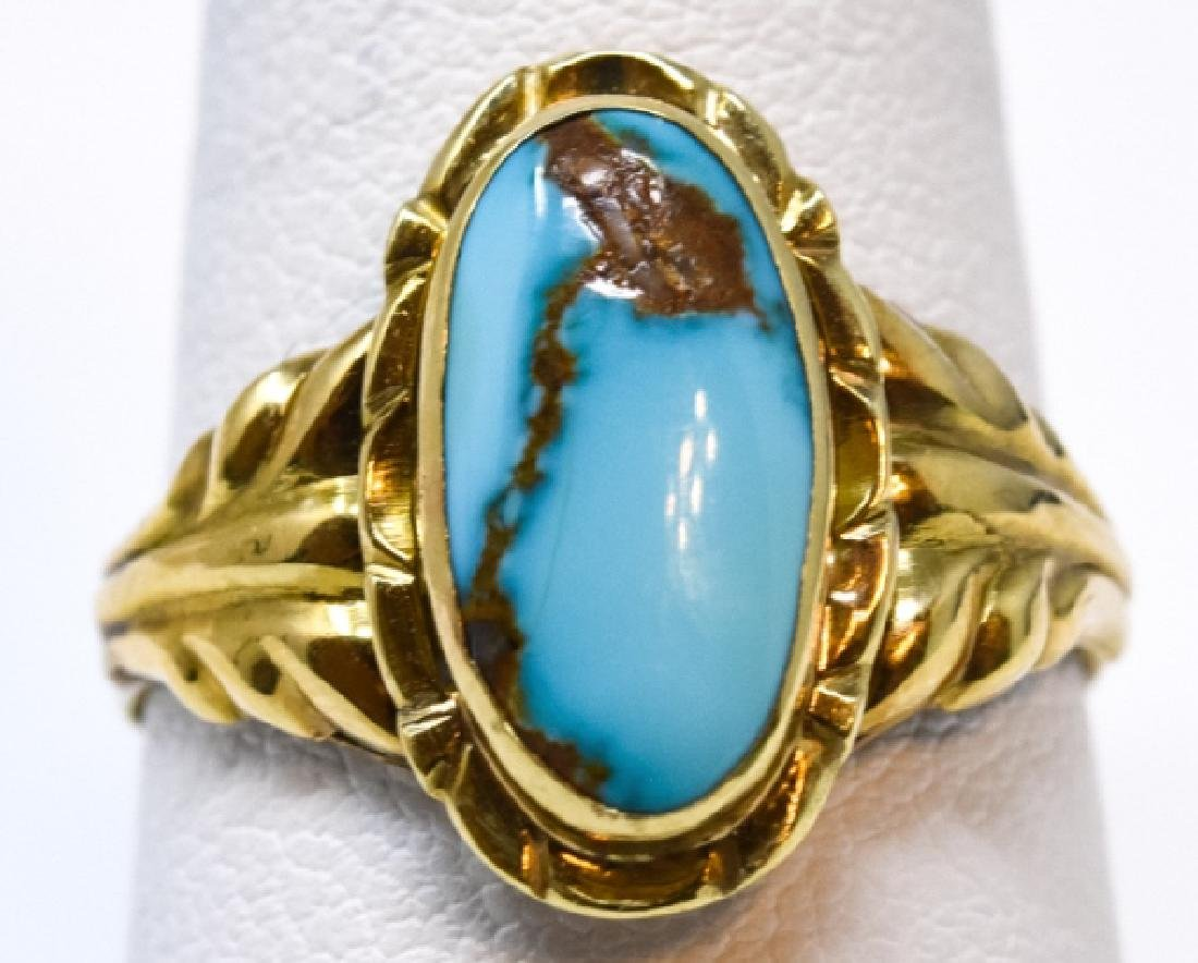 Antique 14kt Yellow Gold & Turquoise Ring