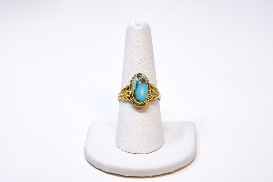 Antique 14kt Yellow Gold & Turquoise Ring - 3