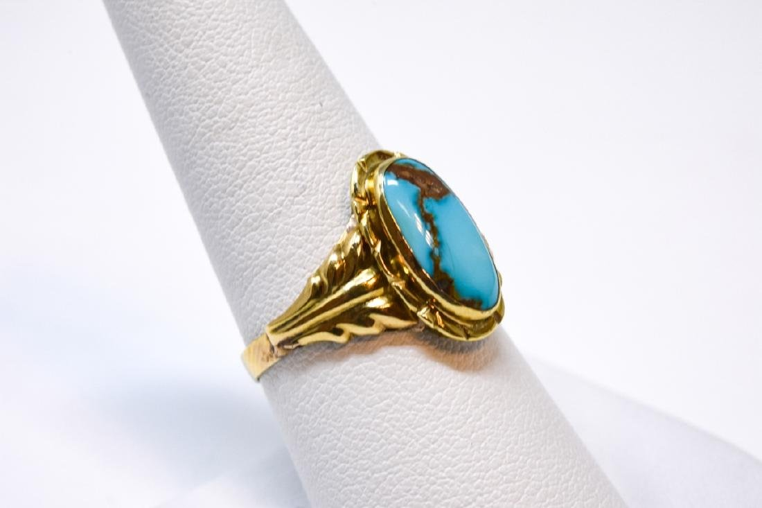 Antique 14kt Yellow Gold & Turquoise Ring - 4