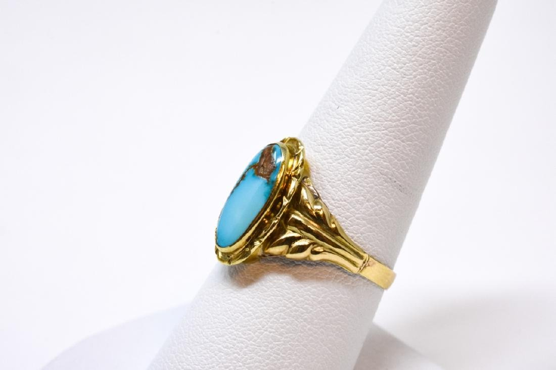 Antique 14kt Yellow Gold & Turquoise Ring - 5