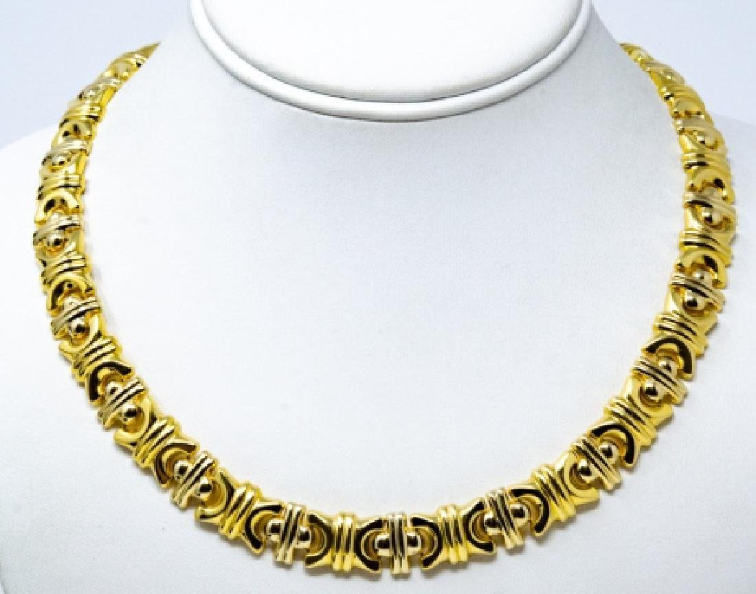 18kt Yellow Gold Italian Panel Necklace