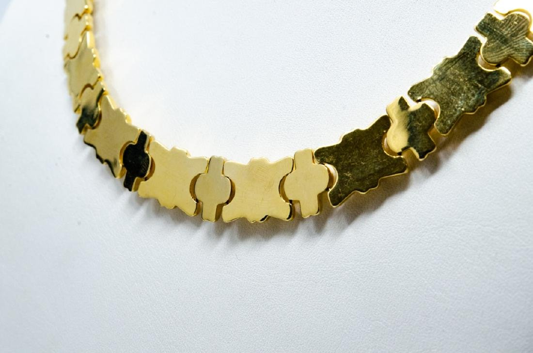 18kt Yellow Gold Italian Panel Necklace - 6