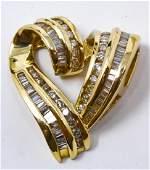 Estate 14kt & 3 Carat Diamond Heart Pendant