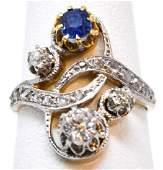 Antique Platinum Yellow Gold Diamond Sapphire Ring