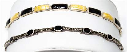2 Sterling Silver Onyx Marcasite Link Bracelets