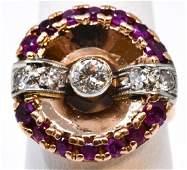 Estate Retro 14kt Rose Gold Diamond & Ruby Ring